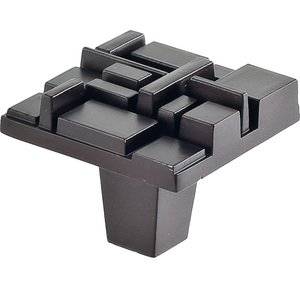 "Du Verre Hardware - Die-Cast Aluminum ( Offset ) by Erin Adams - 1 1/2"" Square Knob in Oil Rubbed Bronze"