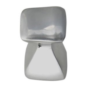 Du Verre Hardware - Forged II Square Small Aluminum Knob in Polished Aluminum