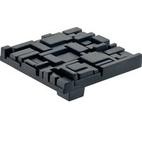 "Du Verre Hardware - Die-Cast Aluminum ( Offset ) by Erin Adams - 2 1/2"" Square Knob in Black Matte"